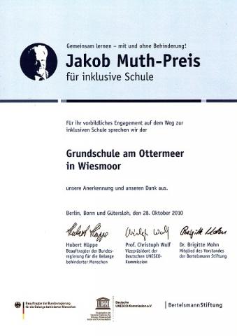 Jakob Muth Preis für inklusive Schule 2010