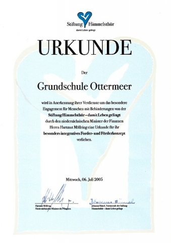 Urkunde der Stiftung Himmelstür für das Engagement für Menschen mit Behinderungen